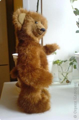 Наконец-то выкладываю своего первого мишку Тедди. Знакомьтесь - Оптимист. Сшит из искусственного меха (мохер пока не научилась боюсь брать - слишком дорого). Сшила его на день рождения дочки. фото 4