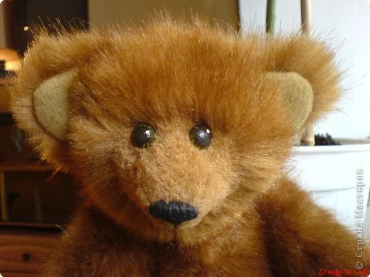 Наконец-то выкладываю своего первого мишку Тедди. Знакомьтесь - Оптимист. Сшит из искусственного меха (мохер пока не научилась боюсь брать - слишком дорого). Сшила его на день рождения дочки. фото 5