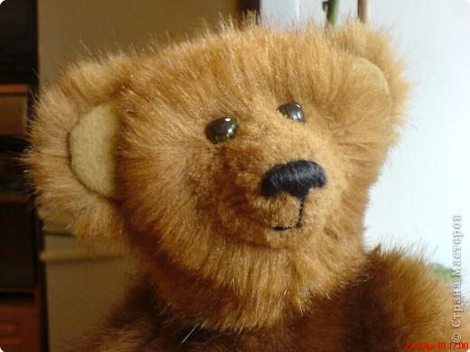 Наконец-то выкладываю своего первого мишку Тедди. Знакомьтесь - Оптимист. Сшит из искусственного меха (мохер пока не научилась боюсь брать - слишком дорого). Сшила его на день рождения дочки. фото 6