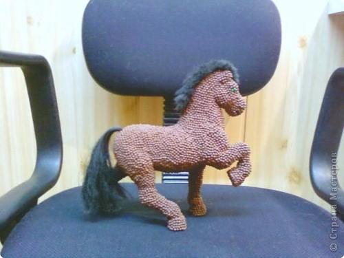 Лошадь Пржевальского из головок спичек фото 4