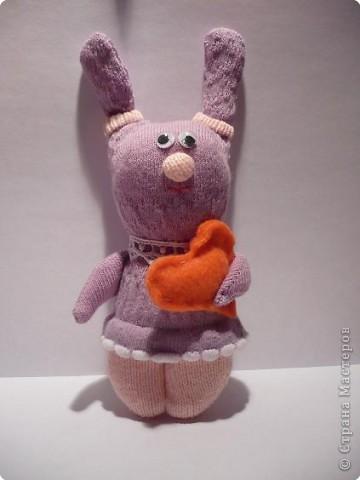 Игрушка Мастер-класс Шитьё Заяц из носка Носки фото 8