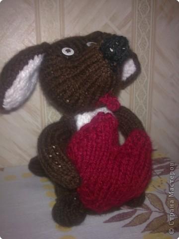 Вязание спицами: Влюбленный песик)))