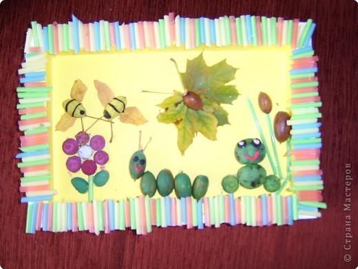 Поделка изделие Раннее развитие Начало учебного года Поделки с детками на тему осень Гуашь Жёлуди Листья Материал природный Пластилин Спички Шишки фото 1