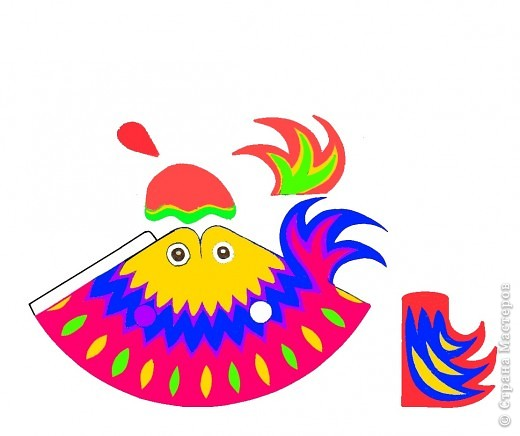 Что можно сделать из круга? На плоскости мы уже научились составлять из кругов  силуэты животных. Делали из шарика (соленого тесто) лепешку, превращая ее, например, в крылья... Сегодня познакомимся с объемной фигурой - конусом на примере изготовления петушка.  фото 18