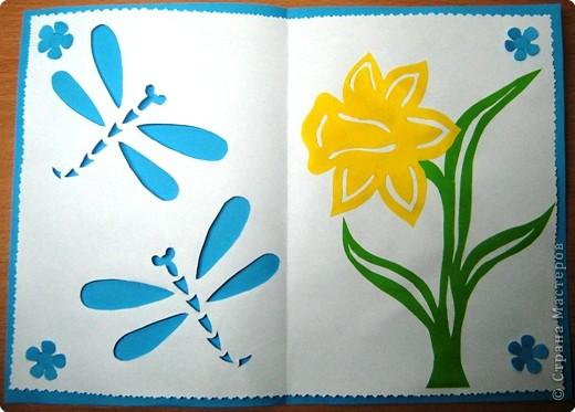 Вот ещё одна весенняя открыточка нарисовалась,точнее вырезалась ))) Продолжаю экспериментировать с креплением двух слоёв бумаги-на этот раз получились такие цветочки.