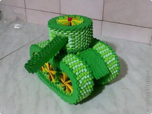 Мастер-класс Поделки для мальчиков День Победы Оригами китайское модульное МК ТАНК Бумага фото 19