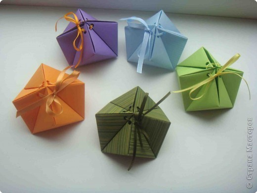 Мастер-класс Оригами Еще коробочки в мою коллекцию Бумага Ленты фото 1