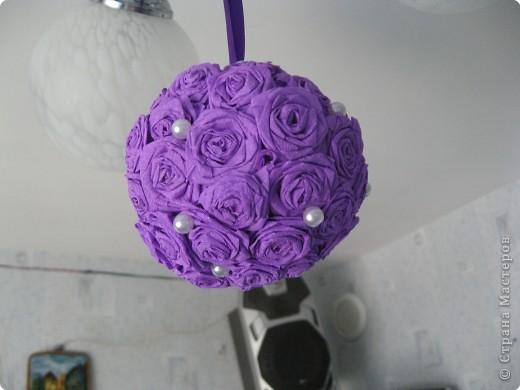 Насмотревшись работы мастериц, решили с дчей сделать такой шарик. фото 3