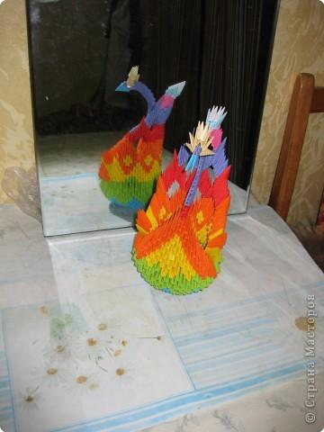 Оригами модульное: Лебедь с причудливым хвостом