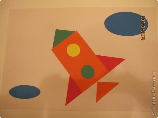 Аппликация из геометрических фигур. Заодно повторяем фигуры и цвета. фото 1