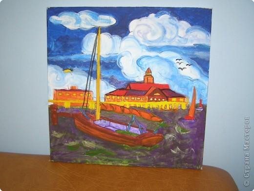 """На выставку, под названием """"Флотилия"""" в детском саду дочка расписала холст. )))"""