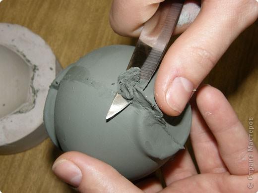 Сначала нужно сделать гипсовую форму для литья. Видела МК у Cvetovod, но я форму готовлю проще.  фото 14