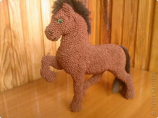 Лошадь Пржевальского из головок спичек фото 5
