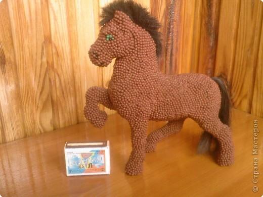 Лошадь Пржевальского из головок спичек фото 6