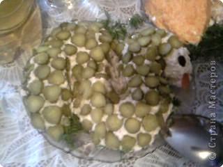 """Состав: 1) 5 средних картофелин 2) 4 яйца 3) 3 плавленых сырка 4) банка консервированной горбуши 5) 7-10 средних маринованных огурчиков 6) зубчик чеснока 7) майонез  Приготовление: 1) Картофель отварить как на пюре (не в мундире) в подсоленной воде. 2) Отварить яйца. 3) Горбушу отчистить от шкурки и косточек и измельчить вилкой. 4) Помять отваренную картошку толкушкой, потереть на мелкой терке яйца и плавленый сырки, измельчить чеснок (у меня был чесночный порошок), добавить горбушу. 5) Все перемешать и добавить немного майонез для получения пластичной массы. 6) Выложить эту массу на блюдо в форме змеи. 7) Тонко (чем тоньше, тем аккуратнее получится) нарезать огурчики и начать их выкладывать с """"хвоста"""". 8) Оформить """"глазки"""" и """"язык по желанию"""""""