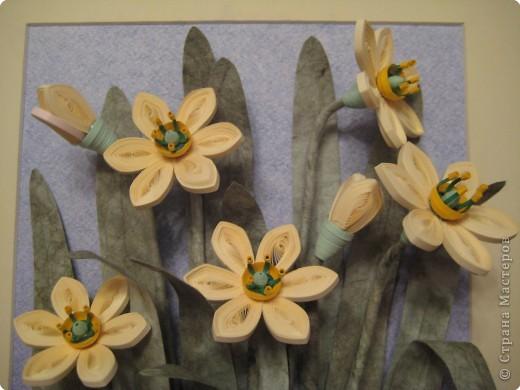 Это последняя из больших работ на курсах. Работа Большие нарциссы в рамке, купленной в http://www.ramkiquilling.blogspot.com/ фото 4