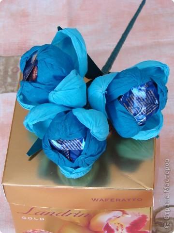 Букетик из конфет.Стал прекрасным дополнением к подарку.К стати конфеты из букета уже съедены,а сам он стоит и хорошо сохранился(Вместо конфеток подкладывают шарики из фольги) фото 5