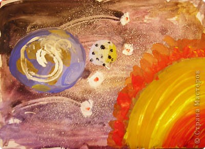 к Дню космонавтики подготовились ))))))) Фон - акварель. А планеты и эффекты гуашью. Работа Ярослава 9лет. фото 1