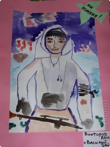 Знаменитый снайпер Василий Зайцев. Рисовал Ванечка, 2 класс.