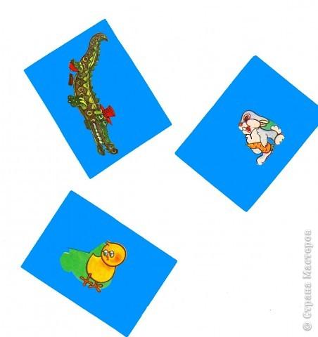 """Старое лото. Разрезная азбука. Придумаем новые правила. Все мы в детстве играли в города: Красноярск - Киров - Вологда - Архангельск. Наша игра очень на нее похожа. Только мы будем обращать внимание на звуковую оболочку букв. Задание 1. Перед тобой три картинки. Положи первой, с левой стороны, карточку с изображением зайца. Произнеси слово """"заяц"""" и определи, на какой звук оканчивается слово. - Звук """"Ц"""". -  Найди картинку, которая начинается с этой буквы и положи ее после первой. - Это - цыпленок.  - Молодец.  фото 1"""