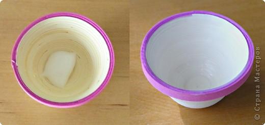 Квиллинг: Миниатюрная вазочка с цветами. фото 5