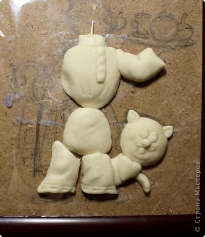 Картина панно рисунок Мастер-класс День рождения Лепка Повар с баранками и чаем Тесто соленое фото 22
