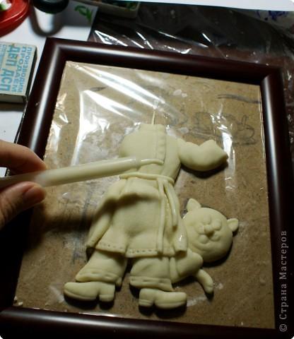 Картина панно рисунок Мастер-класс День рождения Лепка Повар с баранками и чаем Тесто соленое фото 26