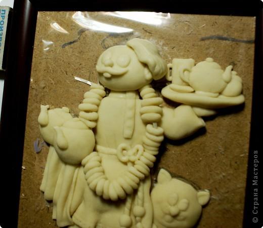 Картина панно рисунок Мастер-класс День рождения Лепка Повар с баранками и чаем Тесто соленое фото 43
