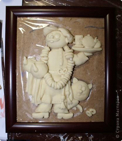 Картина панно рисунок Мастер-класс День рождения Лепка Повар с баранками и чаем Тесто соленое фото 46