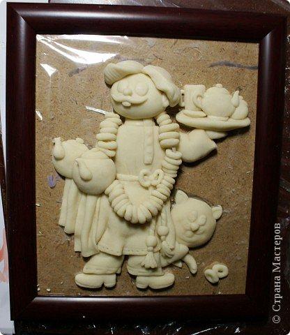 Картина панно рисунок Мастер-класс День рождения Лепка Повар с баранками и чаем Тесто соленое фото 1