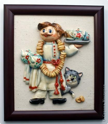 Картина панно рисунок Мастер-класс День рождения Лепка Повар с баранками и чаем Тесто соленое фото 47