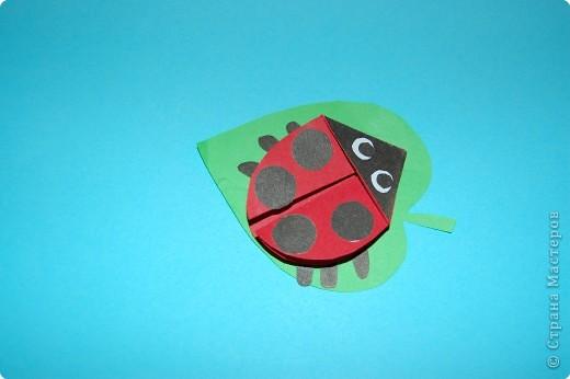 Оригами: жучек-божья коровка. фото 1
