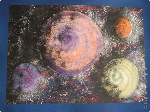 """Эта работа выполнена моей дочерью Анастасией (8 лет) на выставку """"Покорители космоса"""". Формат А3. Работа заняла 2 место."""