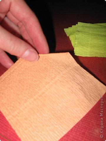 Так выглядит готовая работа из ткани. Я проведу МК, используя гофрированную бумагу. Такой вариант исполнения можно применять в работе с детьми для создания декоративных панно (цветы, рыбки, птички, целые картины,...) фото 3