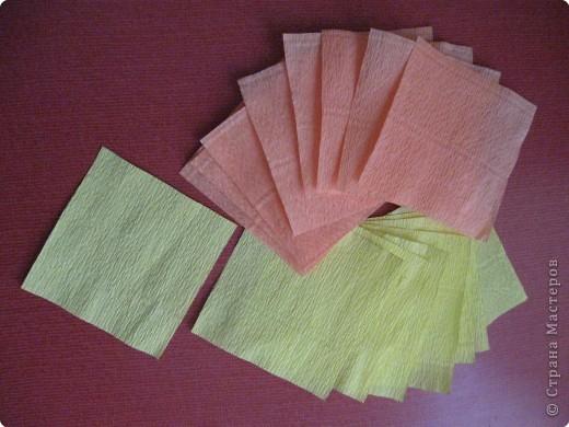 Так выглядит готовая работа из ткани. Я проведу МК, используя гофрированную бумагу. Такой вариант исполнения можно применять в работе с детьми для создания декоративных панно (цветы, рыбки, птички, целые картины,...) фото 2