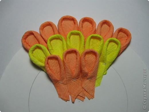 Так выглядит готовая работа из ткани. Я проведу МК, используя гофрированную бумагу. Такой вариант исполнения можно применять в работе с детьми для создания декоративных панно (цветы, рыбки, птички, целые картины,...) фото 13