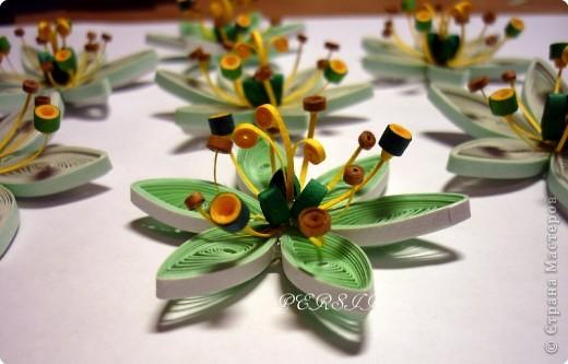 Ещё одна кропатливая работа (очень много мелких деталей), я отнесла бы её к семейству болотных цветов. Вся работа из полосок 0,3. фото 5