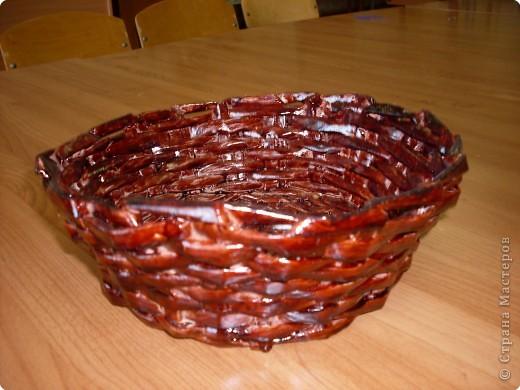 плетение вазы из газет