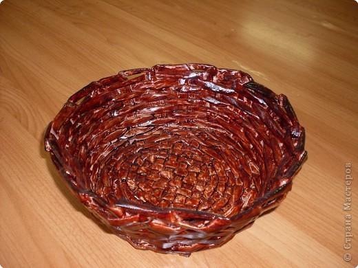 плетение вазы из газет фото 2