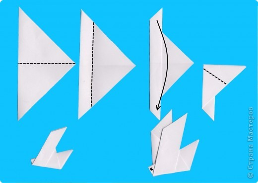 Оригами. Голубь и черепаха.