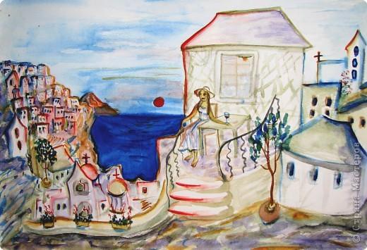 Рисование и живопись: мои акварели из Греции фото 4