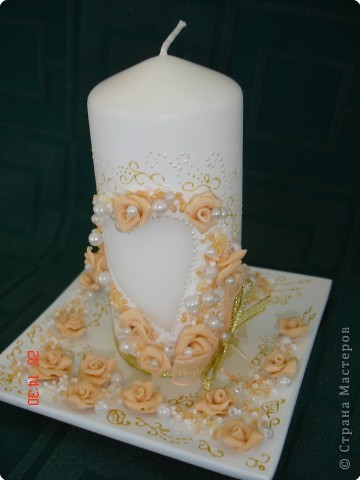 Решила поделиться с вами процессом изготовления свадебных свечей. Может кто подскажет другую технику выполнения, так как эта выбрана излюбленным русским способом - методом тыка! фото 11