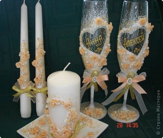 Решила поделиться с вами процессом изготовления свадебных свечей. Может кто подскажет другую технику выполнения, так как эта выбрана излюбленным русским способом - методом тыка! фото 12