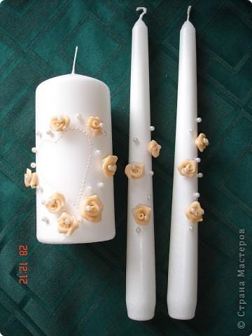 Решила поделиться с вами процессом изготовления свадебных свечей. Может кто подскажет другую технику выполнения, так как эта выбрана излюбленным русским способом - методом тыка! фото 5