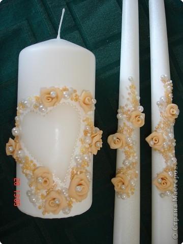 Решила поделиться с вами процессом изготовления свадебных свечей. Может кто подскажет другую технику выполнения, так как эта выбрана излюбленным русским способом - методом тыка! фото 7
