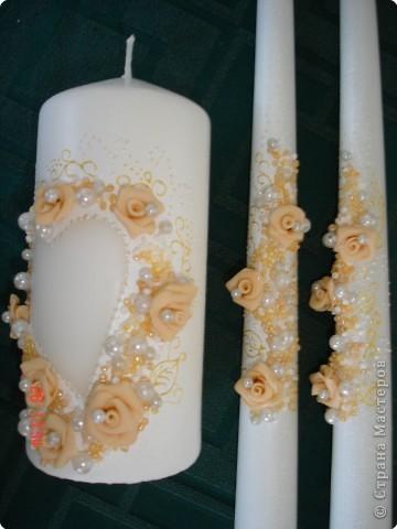 Решила поделиться с вами процессом изготовления свадебных свечей. Может кто подскажет другую технику выполнения, так как эта выбрана излюбленным русским способом - методом тыка! фото 8