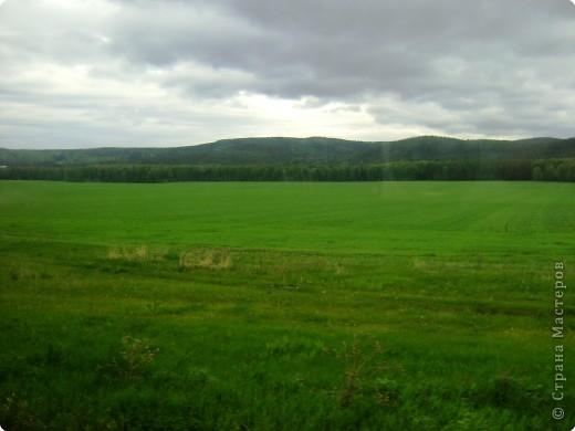 в начале пути. на горизонте показались Уральские горы.
