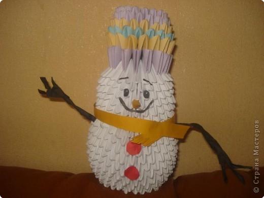 Оригами модульное: Снеговик