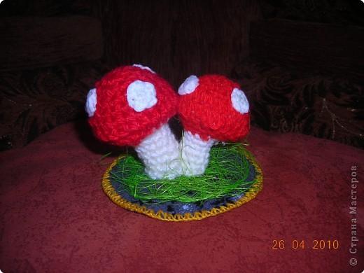 Решила использовать ячейку из под яиц. Связались вот такие мухоморчики. Можно использовать как игольницу или просто поставить для красоты. фото 1