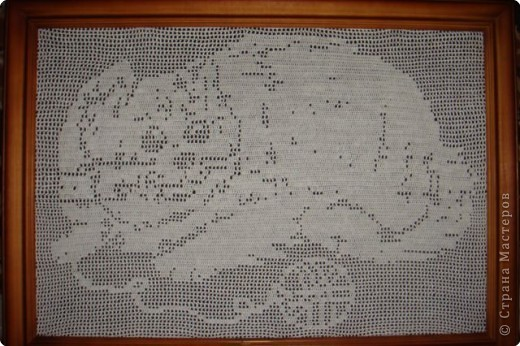 Картина панно рисунок Вязание крючком Котик в технике филейное вязание Нитки